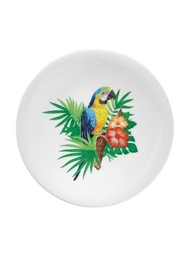 Kütahya Porselen Doğadakiler 21 cm Pasta Tabağı Papağan Renkli